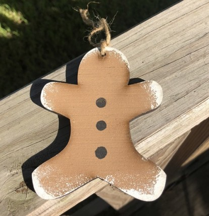 Wood Gingerbread Christmas Ornament
