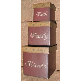 01-2906 Faith Family Friends set of 3 paper mache nesting boxes