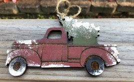 Wood Red Truck with Christmas Tree Handmade Christmas Ornament