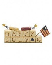 023-2335 Happy July 4th Block Resin Mini Block