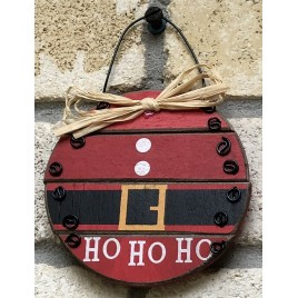 Ho Ho Ho Santa Ball Wood Ornament