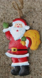 107031SB- Santa w/Bag metal ornament