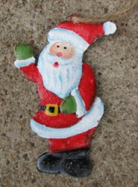 107031WS - Santa Waving Metal Ornament