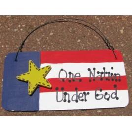 10977ONUG - One Nation Under God wood sign