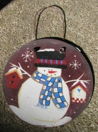 Metal Christmas Ornament 1113 - Tin Snowman Circle