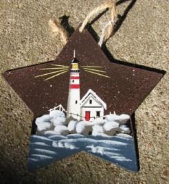 1287 - Metal - Lighthouse Star Ornament