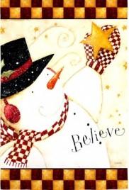 131437 - Believe Primitive Snowman House Flag