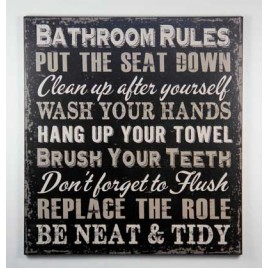 1423BRB - Bathroom Rules Black Wood Sign