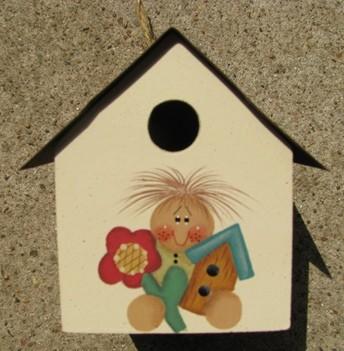 2104G Girl flower Tin Roof Birdhouse