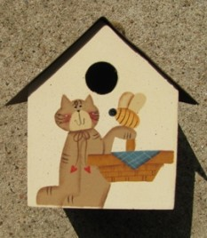 2104C -Cat Birdhouse Metal Roof