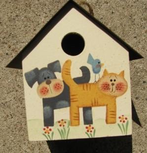 2104DC - Dog & Cat  Birdhouse Tin Roof