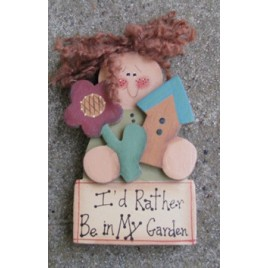 2110G -I'd Rather be in  my Garden wood doll