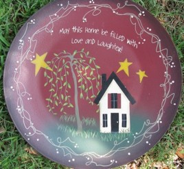 Primitive Wood Plate 2473M - May this Home be filled with Love and Laughter Burgundy