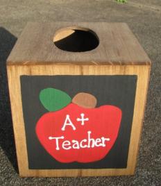 Teacher Gifts 2711AP A +  Apple  TIssue Box Cover