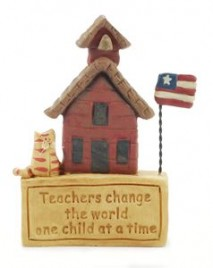 27410-Teachers Change the World one child at a time resin school house