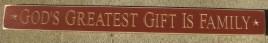 3008BUR-God's Greatest Gift is Family Engraved Wood Block