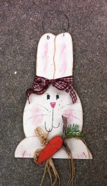 Primitive Country 300WBR Bunny Wall Hanging Burgundy Checkered Bow and Raffia