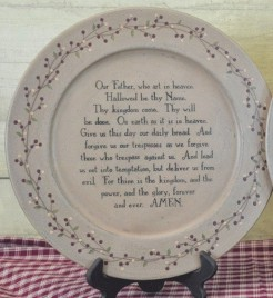 Primitive Wood Plate 30910F- The Lord's Prayer Plate