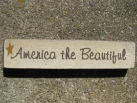 Patriotic wood block 31397ATB-America The Beautiful