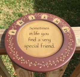 Primitive Wood Plate 31493D - Friend Tag
