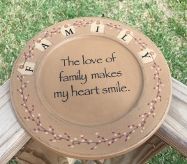 31493Y - Family Tag  primitive wood Plate