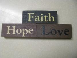 31541FHL-Faith Hope Love wood block set of 3