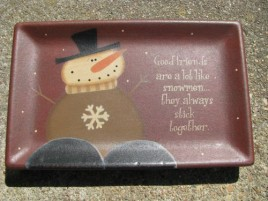 31915G- Good Friends are alot like Snowmen , they always stick together wood plate