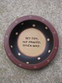 Primitive Wood Bowl 32056M-My Life My Family God's Way