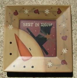 32180BS - Best in Snow snowman wood plate