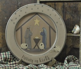 Primtive Wood Plate  32480-Heaven on Earth Nativity