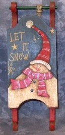 Primitive Wood Santa Sleigh 34043L -Snowman Let it Snow  Mini Wood Christmas Sleigh Ornament