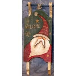 Primitive Wood Santa Sleigh 34043W-Santa Mini Wood Chirstmas Sleigh Ornament