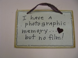 35231P I have a Photographic Memory...but no film!  wood sign