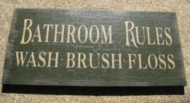 Primitive Wood Bath Sign 36907G -Bathroom Rules Green