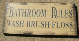 Primitive Wood Bathroom Sign 36907C-Bathroom Rules Cream