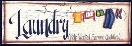 Primitive Wood  Laundry Sign 38168L - Laundry Wood Sign
