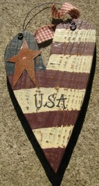 197USA - USA Heart Metal Wood Star
