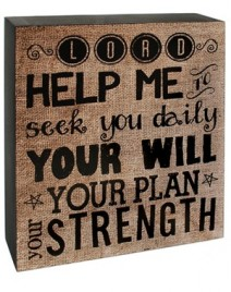 Primitive Wood Box Sign    38281H - Lord, Help Me sek you Daily