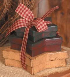 3B1164 - Mini Primitive Stars with ribbon nesting boxes