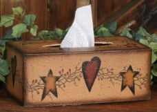 3TB011-Star/Heart Tissue Box Cover Paper Mache'