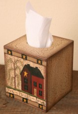 Primitive Tissue Box Cover Paper Mache' 3TB022-Love Live Laugh