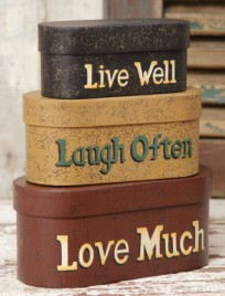 3B1124-Live Laugh Love set of 3 nesting boxes
