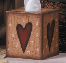 3tb001-Heart Kleenex Box Cover Paper Mache'