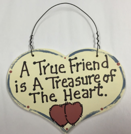 Large wood Heart  A True Friend is a Treasure of the Heart