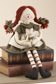 40954G - Sitting Country Doll Green