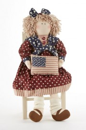 Cloth Primitive Doll 41405  Americana Doll Girl w/flag