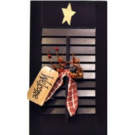 45316B - Wood Shutter Black with welcome tag, berries and gingham ribbon