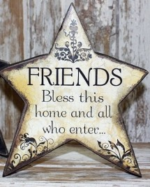45366F - Friends Bless this Home and all who Enter Wood Standing Star