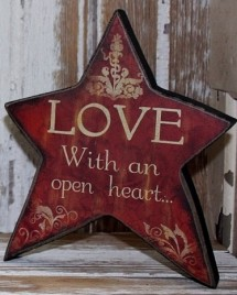 45366L - Love with an open heart  Wood Standing Star