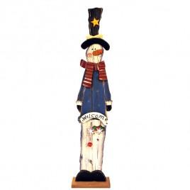Wood Snowman on Base 47030S - Tall Skinny Snowman